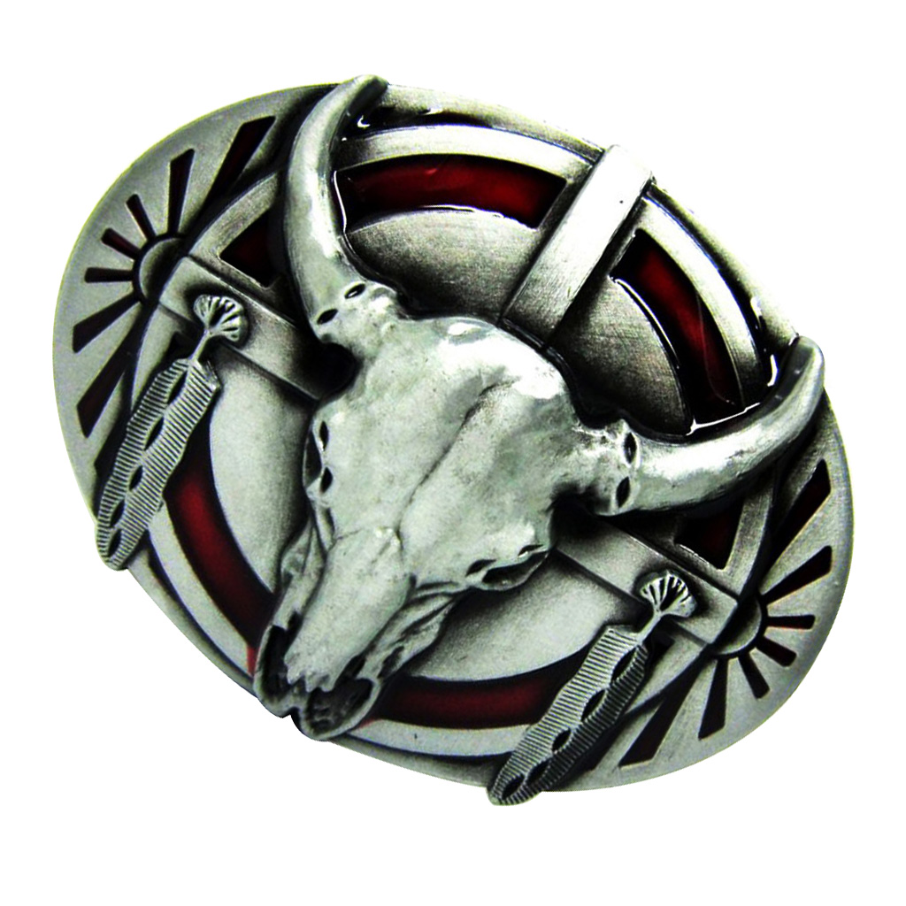 Oval The Indians Shield Cow Longhorn Buffalo Skull Belt Buckle Western Mental Cowboy Punk Belt Buckle