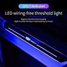 For geely emgrand ec7 ec8 ck atlas ck2 ck3 gt gc9 Car logo LED Door Sill Ultra-thin Dynamic Welcome Light Scuff Plate Pedal lamp