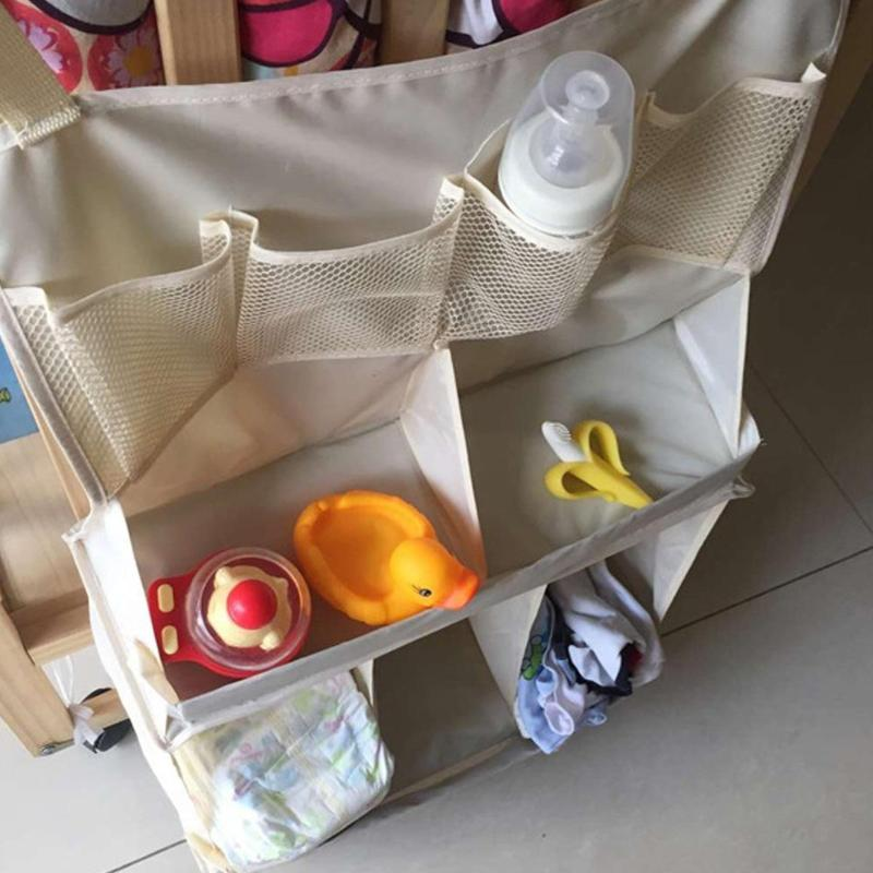 Baby Bed Hanging Organizer Bag Waterproof Baby Diapers Portable Storage Bag Feeding Bottle Toys For Crib