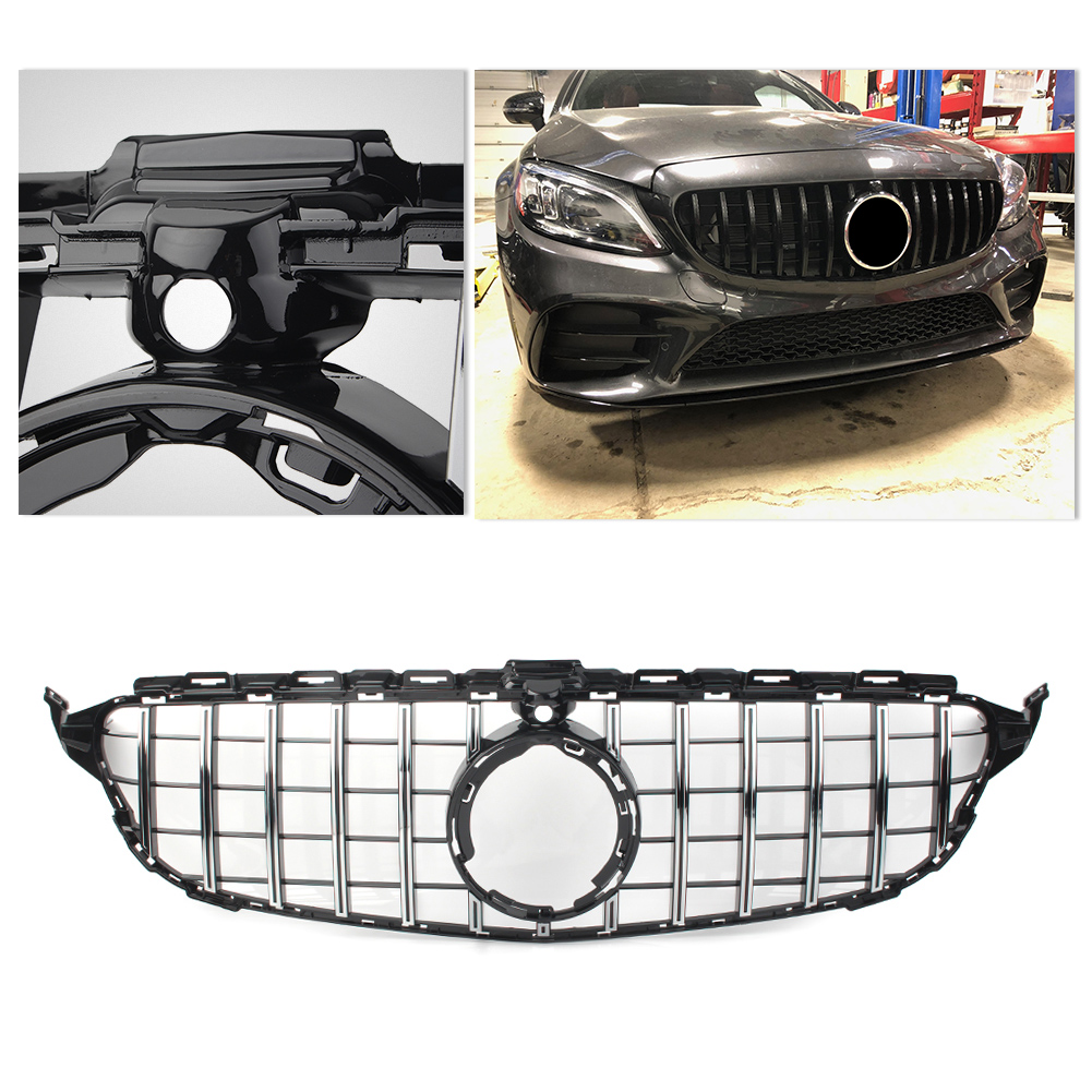 Car Front Grille Auto AMG Styling Upper Mesh Grill GTR Grille w/ Camera <font><b>For</b></font> <font><b>Mercedes</b></font> Benz W205 C-Class <font><b>C200</b></font> C300 <font><b>2019</b></font> image