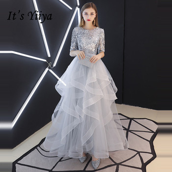 It's YiiYa Evening Dress 2019 Real Sequins Half Sleeve Tiered Hems Floor-length Fromal Gray Party Dresses LX1398 robe de soiree - discount item  47% OFF Special Occasion Dresses