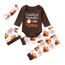 Cute Baby Girl Clothes Infant Boys Girls Letter Turkey Long Sleeve Romper Pants Thanksgiving Day 4PCS Outfits Set Casual Clothes