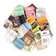 1 caja de papelería sello de pegatinas cuarderno de recortes con pegatinas decorativas diario tachuela Diy diario planta Flor de viaje Retro pegatinas