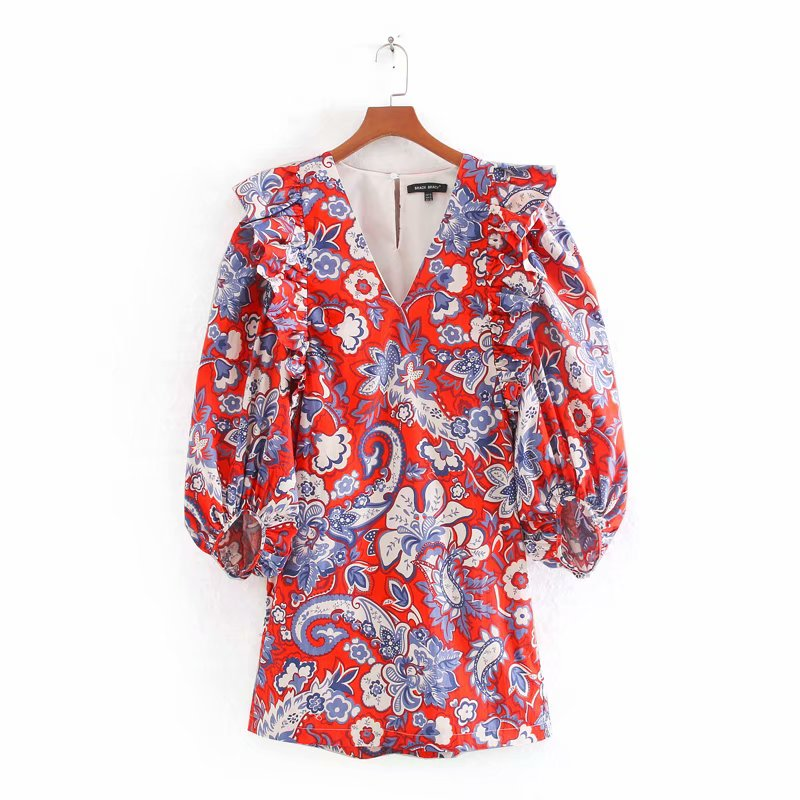 New Women Elegant  V Neck Paisley Flower Vestidos Printing Mini Dress Ladies Lantern  Sleeve Pleated Ruffles Chic Dresses DS3404