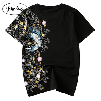 2020 new summer tide men's t-shirt short sleeve round neck Chinese style carp embroidery pattern cotton shirt t-shirt men semir short sleeve t shirts men 2020 summer new round neck hedging hong kong style printing fun design youth t shirt tide