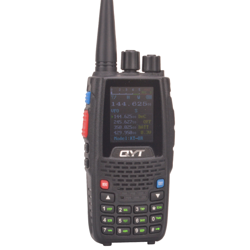 QYT KT-8R Quad Band Walkie Takie Scrambler VHF:136-174MHz,220-260MHz UHF:400-480MHz,350-390MHz  FM Color Screen Two Way Radio