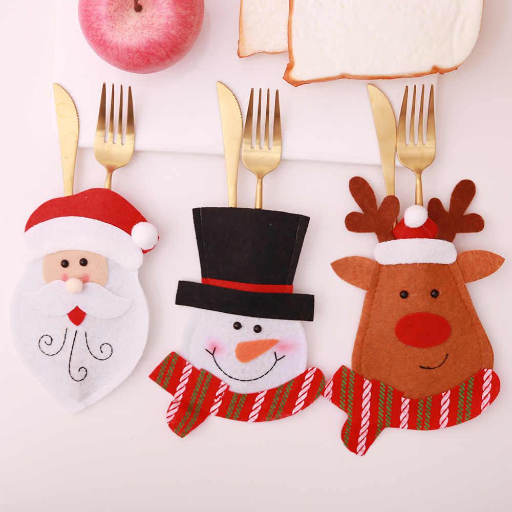 Santa Mũ Tuần Lộc Giáng Sinh Năm Mới Bỏ Túi Dao Muỗng Nĩa Dao Kéo Giá Đỡ Túi Nhà Đảng Bàn Ăn Tối Trang Trí Bàn Ăn 62417