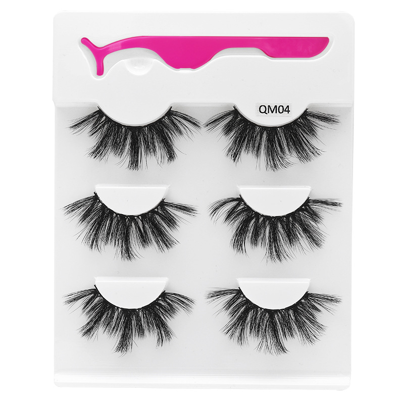 Shozy 3 pairs 25mm faux mink eyelashes with applicator handmade natural false eyelashes extension for makeup QM in False Eyelashes from Beauty Health