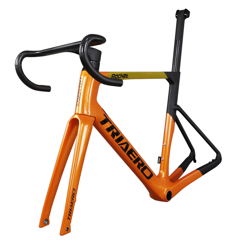 Super Light Carbon Road Disc Brake Bike Frame With Orange Painting