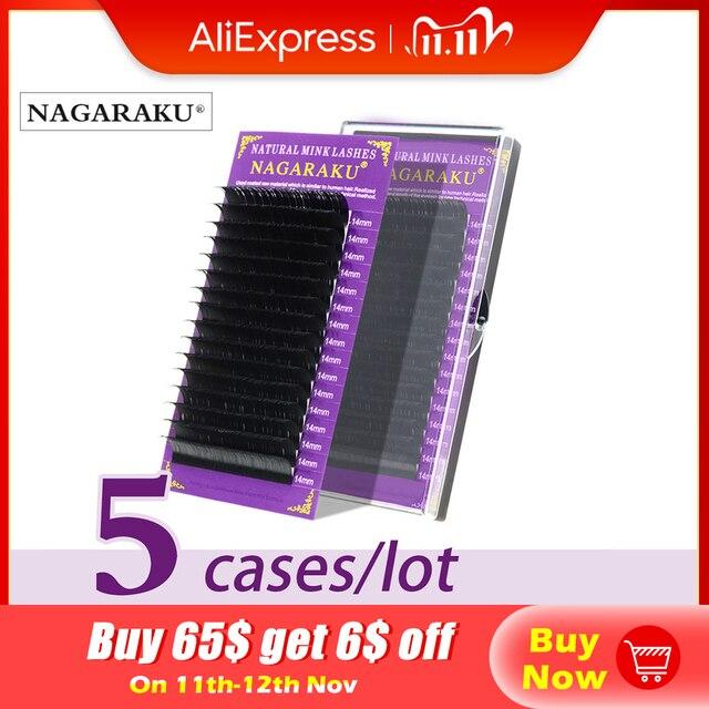 NAGARAKU 5 trays Wimpern extensions Hohe qualität faux mink individuelle wimpern einzigen größe falsche wimpern weiche und natürliche