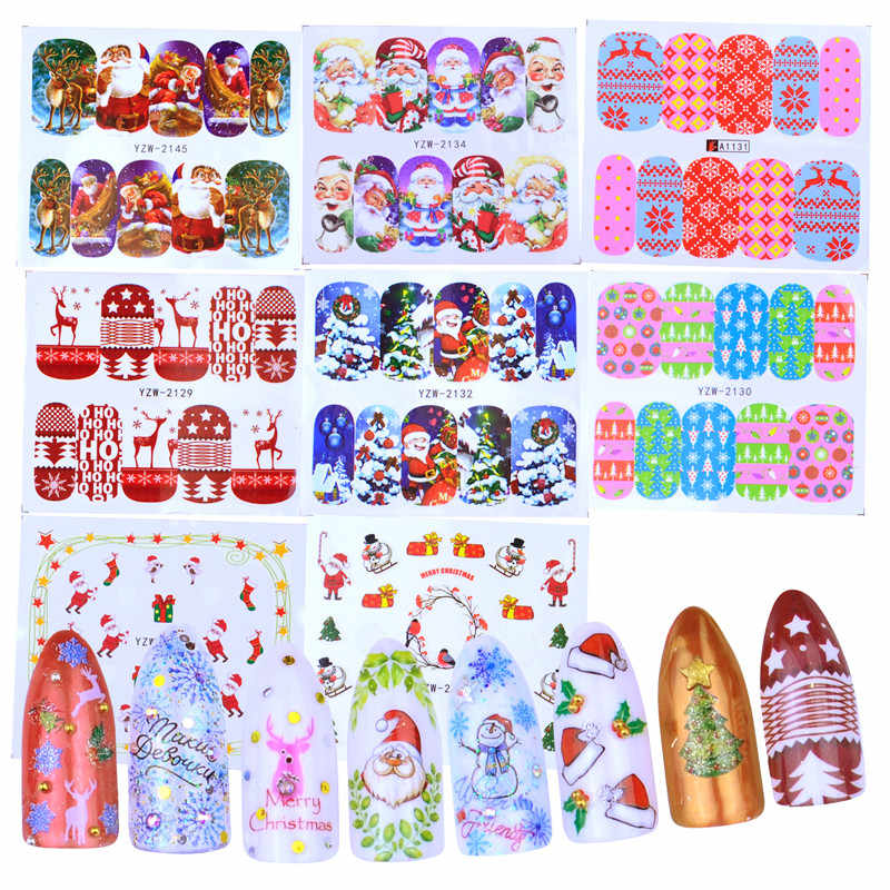 1 Sheet Christmas Sticker Nail Art Sticker Set Nail Decorations Manicure Water Tips Winter Designs Nail Foils