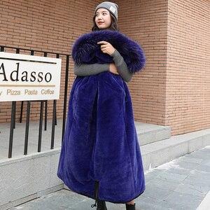 Image 3 - Kış ceket pamuk Sustans uzun ceket kadın Parka dış giyim artı boyutu Jaquetas Feminina 2019 büyük kürk yaka kapşonlu aşağı kadın