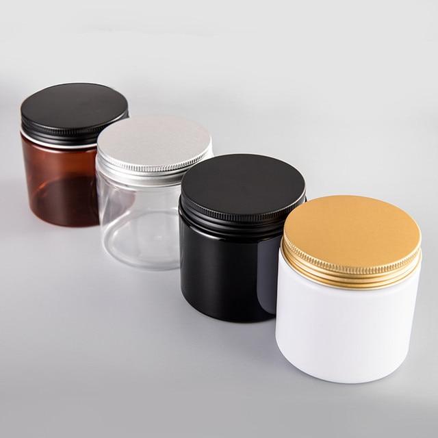 12pcs/lot 200G 200ml Plastic Jar Cosmetic Cream Jar Plastic Pot Aluminum Lid Plastic Cap PET Container Empty Food Packing Cans