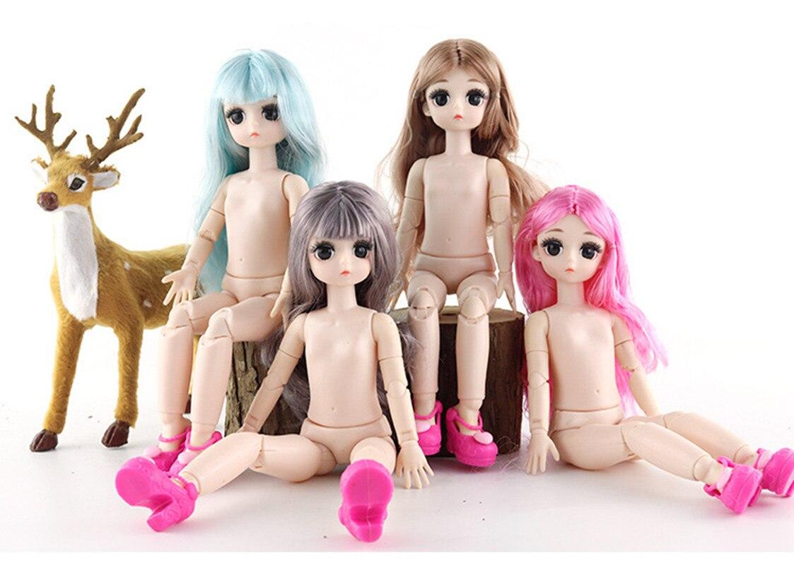 O transporte da gota 28cm bjd bonecas 4d verdadeiro olhos 21 articulações movable nude corpo diy longo cabelo americano meninas bonecas presente de natal