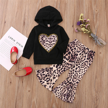 Fashion Girls Love Heart Long Sleeve Hooded Top Hoodies Leopard Print Pants Suit Autumn Spring Chil Girl Set Outfits a girl's two piece suit fashion streetwear leopard print long sleeve hooded top and short skirt girls clothing set toddler suits