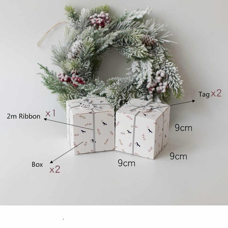 סט של 4 מסיבת קופסות מתנה עם סרט ותג לטובת קופסות שלום ושמחה חג תיבת מתנת חג המולד מתנות תיבת ספקי צד