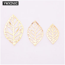 Ywxinxi 50 pçs moda simples folha filigrana metal artesanato jóias, diy artesanal jóias pingente traje decoração