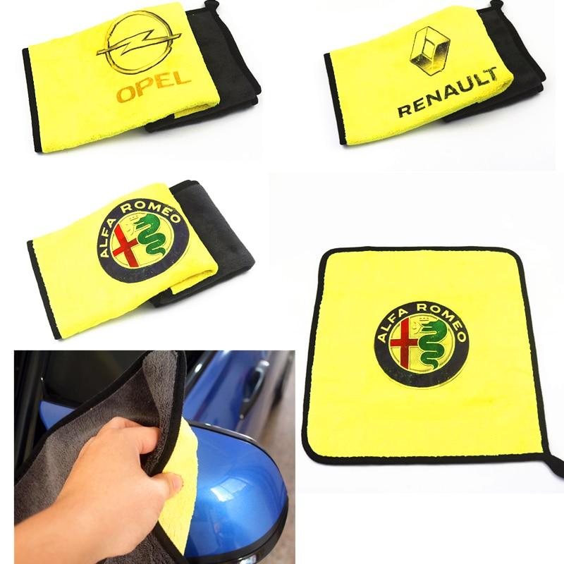 30*30CM Car Sticker Logo Emblem Badge Wash Microfiber Towel Car Cleaning For Opel Kia Seat Peugeot Citroen Renault Opel Dacia