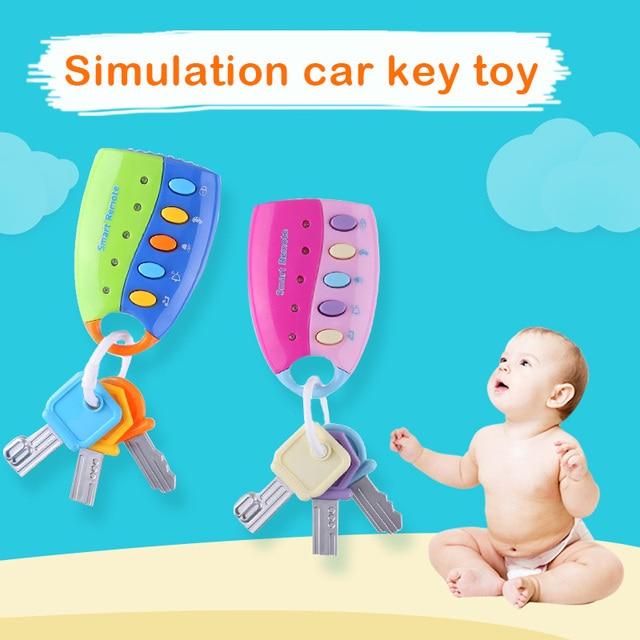 תינוק מוסיקלי רכב מפתח צעצוע ווקאלי חכם מרחוק רכב קולות מוסיקלי רכב מפתח צבעוני פלאש נשמע להעמיד פנים לשחק חינוך צעצוע עבור קי
