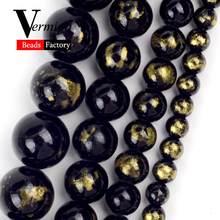 4/6/8/10mm natural preto lapis lazuli jades redondos grânulos soltos para fazer jóias contas espaçador diy pulseiras acessórios 15