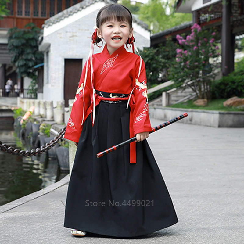 Traditional Cosutume Kids Japanese Style Kimono Baby Girl Boy Yukata Samurai Costume Embroidery Crane Haori Robe Party Cosplay