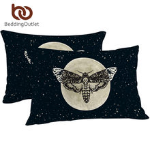BeddingOutlet Death Moth Pillowcase Gothic Skull Pillow Case Butterfly Bedding Blue Stars Pillow Cover Home 2pcs 50x75cm(China)
