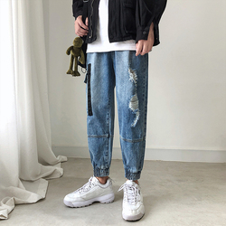 Hole Jeans Men Fashion Washed Casual Denim Trousers Men Streetwear Hip Hop Loose Large Pocket Jean Pants Man Clothes M-3XL