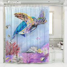 Chic Turtle Watercolor Art Shower Curtain Waterproof Mildewproof Washable Fabric Bathroom Curtains rideau douche Bath Curtain цена в Москве и Питере