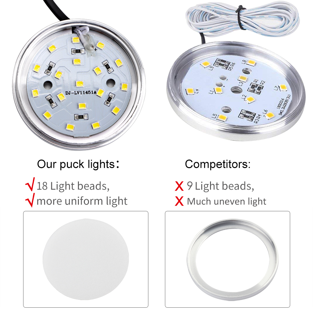 2W 2400lm Dimmable Hand Wave Activated 5000K Daylight White LED Cabinet Puck Light 12Pack Under Cabinet Lighting Kit for Kitchen in Under Cabinet Lights from Lights Lighting
