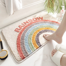 Home Bath Mat Non-slip Bathroom Carpet Soft Polyester Fiber Rug Water Uptake Mat Kitchen Toilet Floor Decor