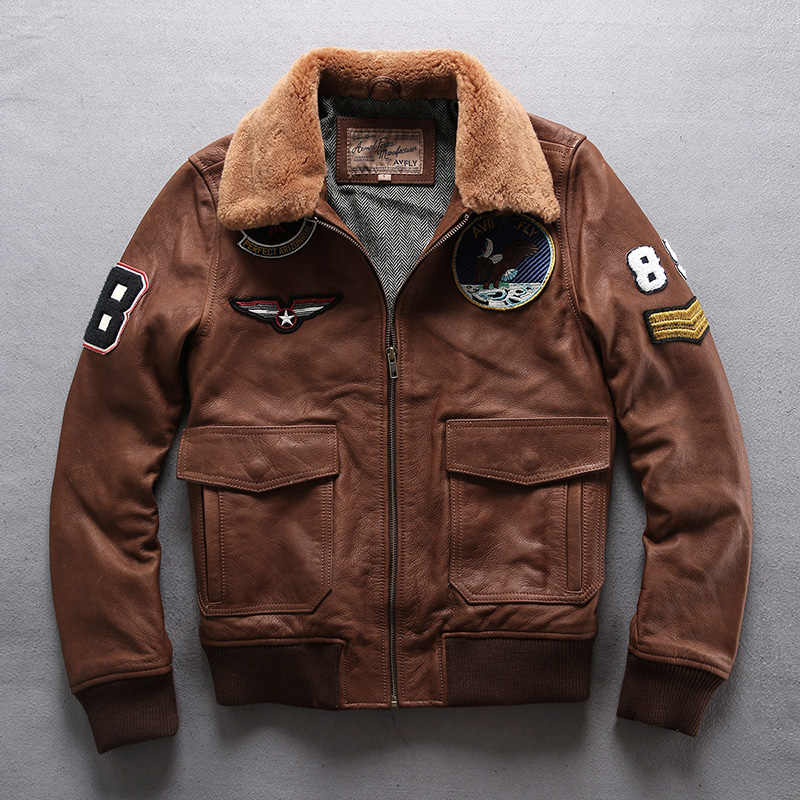 Европейский Большой размер ВВС G1 пилот теплый меховой воротник кожаная куртка из натуральной коровьей кожи пальто толстая яловая куртка