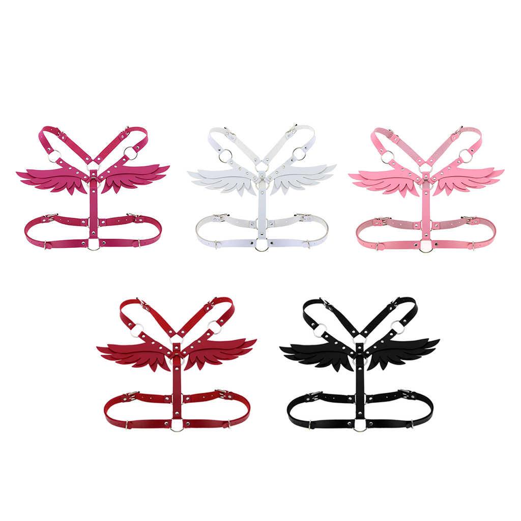 여성 천사 날개 하네스 Bralette 탑스 펑크 고딕 복장 날개 가죽 하네스 케이지 브래지어 섹시한 란제리 벨트 페티쉬 펑크 고딕