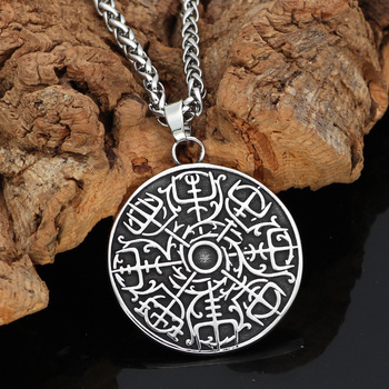 Norse Viking Vegvisir Amulet Odin Circle Pendant Necklace  Viking Necklace