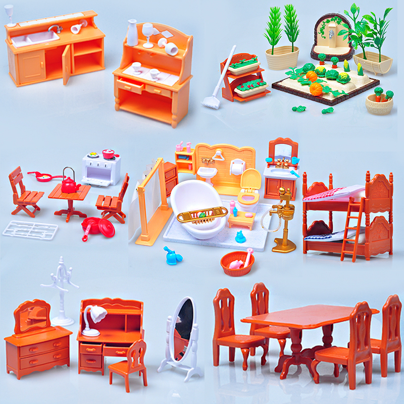 HOT 1:12  Sylvanianed Family  Figure Bath Room Set Doll House Mini Furniture DIY Pretend Toy Gift Available In A Variety Of