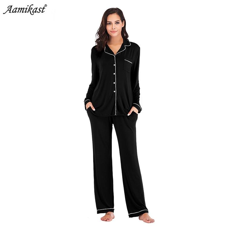 Womens Pajamas Sleepwear Soft PJ Set Pocket Pyjamas Long Sleeve Sleepwear Pijama Pajamas Suit Female Sleepwear Pijamas Robe