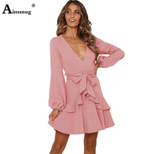 Aimsnug Ruffled Pleated Long Sleeve Deep V-neck Lace-up Solid Pink Streetwear 2019 New Autumn Elegant Womens Mini Dress