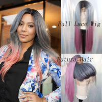 IvyNa Dark Roots Grey Pink Ombre Synthetic Full Lace Wigs for Black Women 3 Tone Futura Heat Resistant Synthetic Wigs Baby Hair