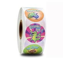 500 pcs/roll cute stickers round cartoon animal for reward children, stationery decoration sticker