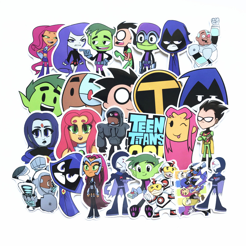 26PCS Set Teen Titans Robin Stickers Starfire Raven For Snowboard Laptop Luggage Car Fridge Car- Styling Stickers Pegatina