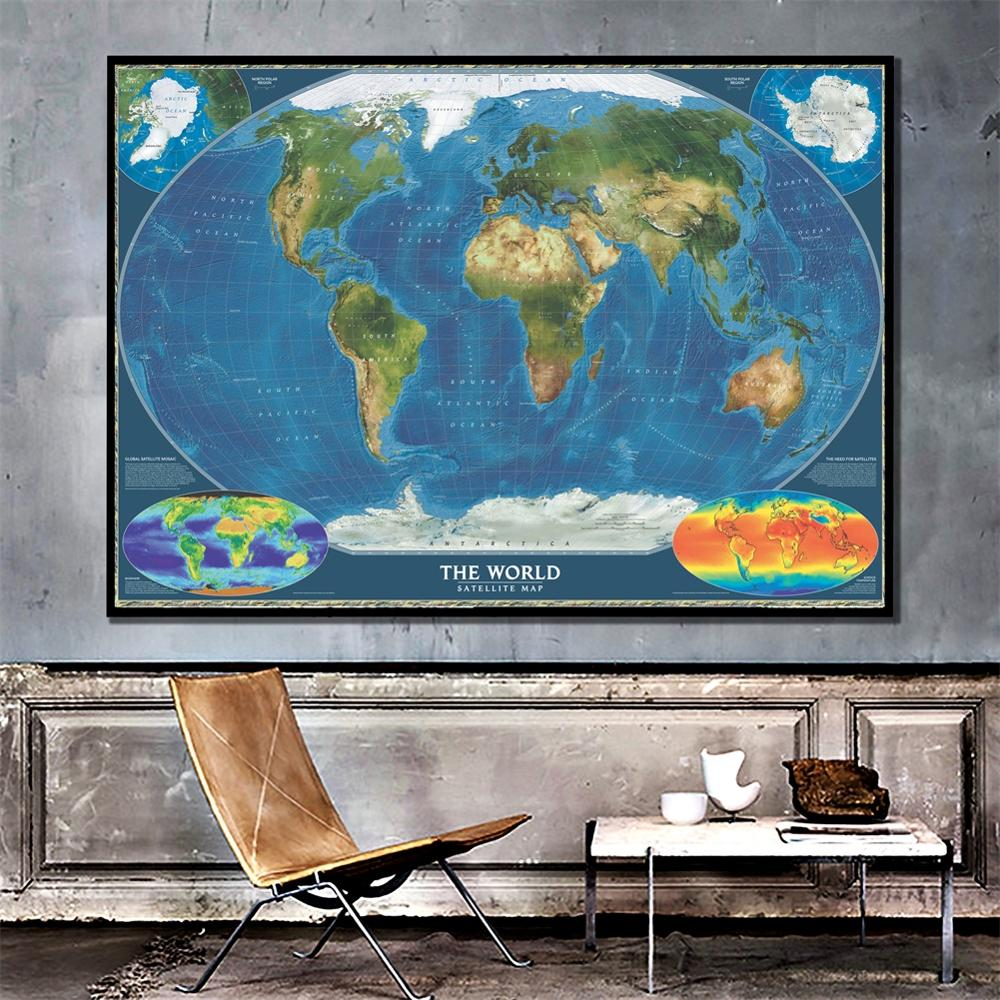 A2 Size Fine Canvas Spray Painting World Satellite Map With Surface Temperature Wall Decor Map Office Desk Crafts