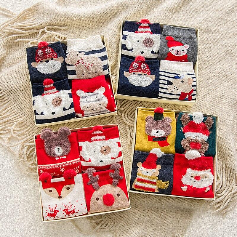 4 Pairs/Lot Casual Christmas Socks Cartoon Animal Women Socks Cotton Happy Funny Socks Korea Cute Socks Christmas Gift For Women