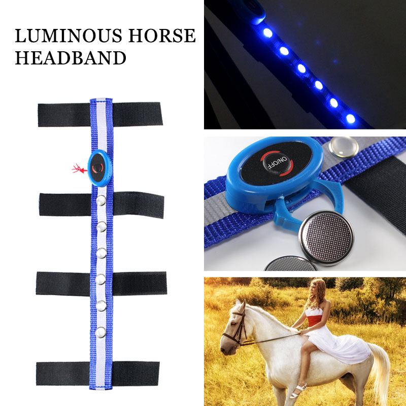 Durable LED Horseman Equestrian Reins Horse Reins Tournament Sports Outdoor Polyester Blue Horse Head Straps Portable