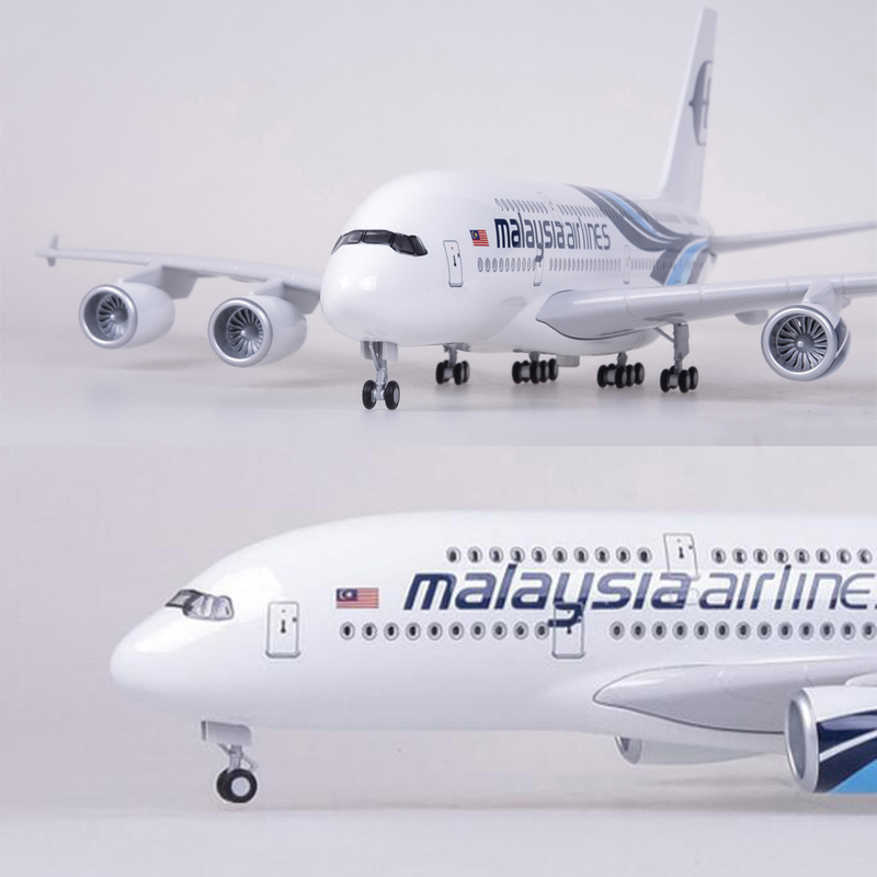 Oyuncaklar ve Hobi Ürünleri'ten Pres Döküm ve Oyuncak Araçlar'de 1/160 Ölçekli 50.5CM Uçak Airbus A380 Malezya Havayolu Modeli W Işikli ve Arka Diecast Plastik Reçine Uçak Koleksiyonu Için'da  Grup 1