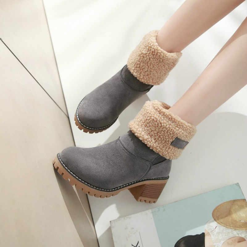 KAMUCC nuevas botas de mujer para invierno al aire libre mantener caliente botas de piel impermeable botas de nieve de las mujeres de tacón grueso con la cabeza redonda botas cortas