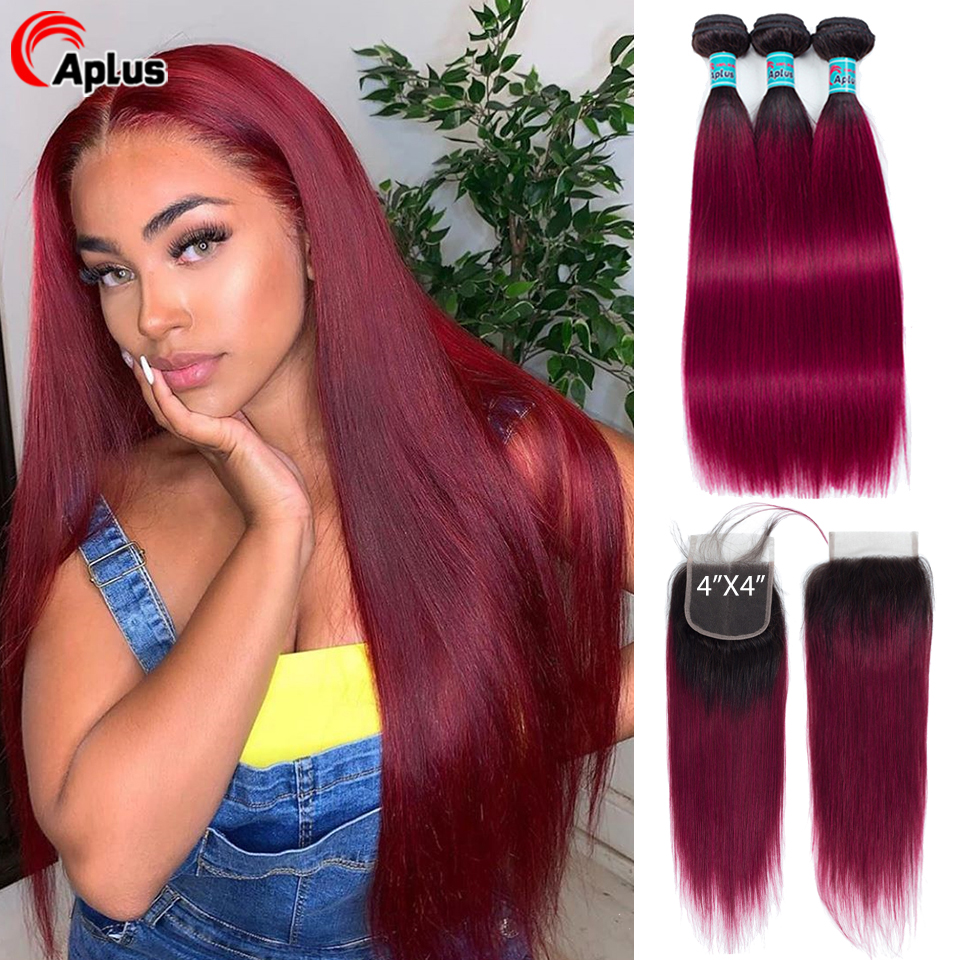 Ombre Hair Bundles With Closure 1B Red/Burgundy Malaysian Straight Human Hair Bundle With Closure Aplus Non-remy Hair 4Pcs/lot