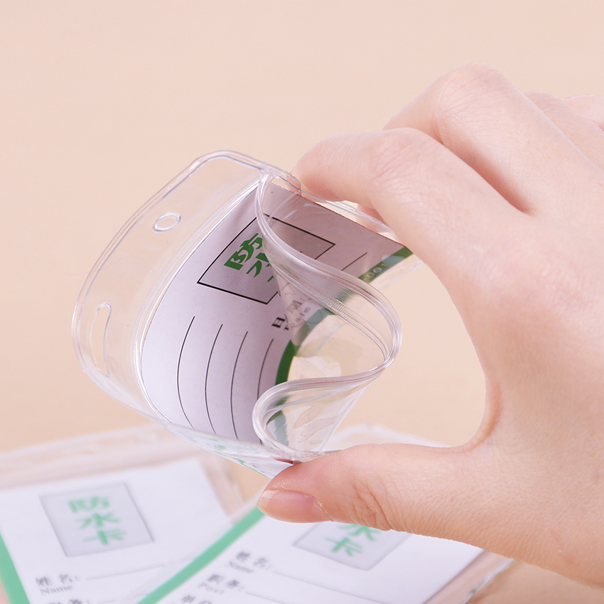 PVC ID Badge Case Clear With Transparent Card Badge Card Badge Holder Office Stationery Supplies 10PCS
