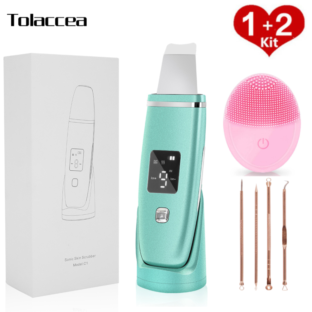 Ultrasonic Skin Scrubber Facial Cleaner Machine Face Blackhead Remover Face Cleaner Brush Acne Needle Skin Care Tool