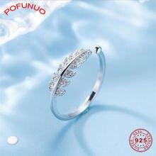 Pofunuo стильные женские серебряные кольца циркониевые открытые