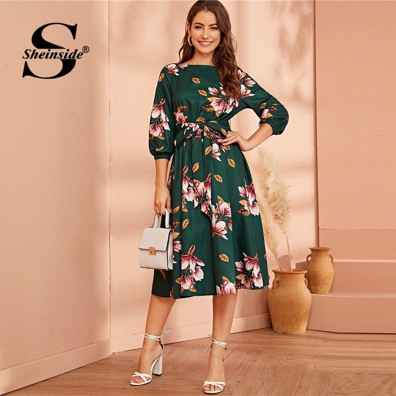 Sheinside Floral Print Elastic Waist Dress Women 2019 Autumn 3/4 Sleeve High Waist Dresses Ladies Lantern Sleeve Midi Dress