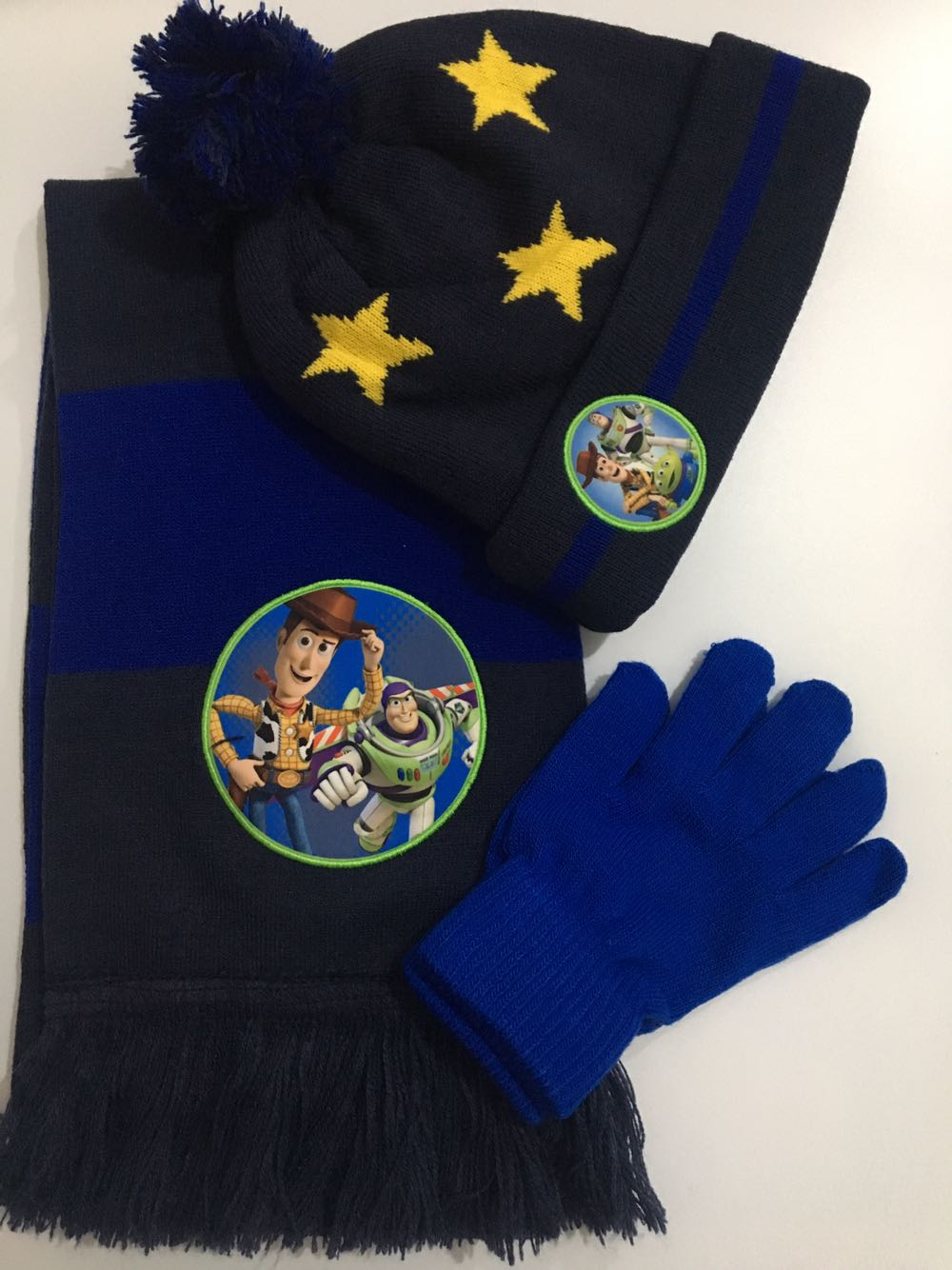 1set Cartoon Cute Toy Story Knit Beanie Hat Children Christmas Winter Knitted Scarf Gloves Hat Set Party Kids Gifts 2-8Y